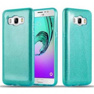 Cadorabo Hülle für Samsung Galaxy J5 2016 - Hülle in STERNENSTAUB TÜRKIS ? TPU Silikon und Hardcase Handyhülle im Glitzer Design - Hard Case TPU Silikon Schutzhülle