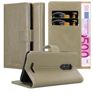 Cadorabo Hülle für WIKO VIEW in CAPPUCCINO BRAUN - Handyhülle mit Magnetverschluss, Standfunktion und Kartenfach - Case Cover Schutzhülle Etui Tasche Book Klapp Style