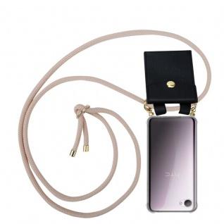Cadorabo Handy Kette für HTC Desire 12 in PERLIG ROSÉGOLD - Silikon Necklace Umhänge Hülle mit Gold Ringen, Kordel Band Schnur und abnehmbarem Etui ? Schutzhülle