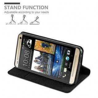 Cadorabo Hülle für HTC ONE M7 (1.Generation) in NACHT SCHWARZ - Handyhülle mit Magnetverschluss, Standfunktion und Kartenfach - Case Cover Schutzhülle Etui Tasche Book Klapp Style - Vorschau 4
