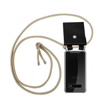 Cadorabo Handy Kette für Samsung Galaxy S10 PLUS in GLÄNZEND BRAUN Silikon Necklace Umhänge Hülle mit Silber Ringen, Kordel Band Schnur und abnehmbarem Etui Schutzhülle