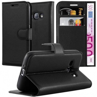 Cadorabo Hülle für Samsung Galaxy J1 2016 in PHANTOM SCHWARZ - Handyhülle mit Magnetverschluss, Standfunktion und Kartenfach - Case Cover Schutzhülle Etui Tasche Book Klapp Style