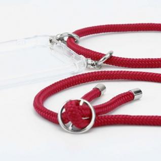 Cadorabo Handy Kette für OnePlus 6T in RUBIN ROT - Silikon Necklace Umhänge Hülle mit Silber Ringen, Kordel Band Schnur und abnehmbarem Etui - Schutzhülle - Vorschau 2