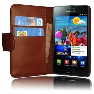 Cadorabo Hülle für Samsung Galaxy S2 / S2 PLUS in KAKAO BRAUN Handyhülle aus glattem Kunstleder mit Standfunktion und Kartenfach Case Cover Schutzhülle Etui Tasche Book Klapp Style