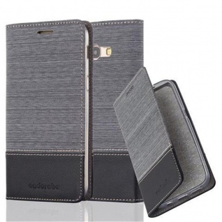 Cadorabo Hülle für Samsung Galaxy A5 2017 in GRAU SCHWARZ - Handyhülle mit Magnetverschluss, Standfunktion und Kartenfach - Case Cover Schutzhülle Etui Tasche Book Klapp Style