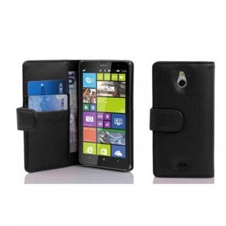 Cadorabo Hülle für Nokia Lumia 1320 in OXID SCHWARZ ? Handyhülle aus strukturiertem Kunstleder mit Standfunktion und Kartenfach ? Case Cover Schutzhülle Etui Tasche Book Klapp Style