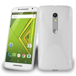Cadorabo Hülle für Motorola MOTO X PLAY in HALB TRANSPARENT ? Handyhülle aus flexiblem TPU Silikon ? Silikonhülle Schutzhülle Ultra Slim Soft Back Cover Case Bumper