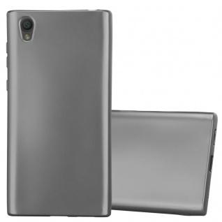 Cadorabo Hülle für Sony Xperia L1 in METALLIC GRAU - Handyhülle aus flexiblem TPU Silikon - Silikonhülle Schutzhülle Ultra Slim Soft Back Cover Case Bumper