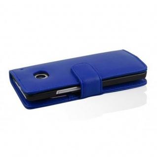 Cadorabo Hülle für HTC ONE M4 MINI in BRILLANT BLAU - Handyhülle aus glattem Kunstleder mit Standfunktion und Kartenfach - Case Cover Schutzhülle Etui Tasche Book Klapp Style - Vorschau 3