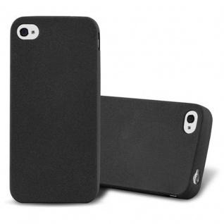 Cadorabo Hülle für Apple iPhone 4 / iPhone 4S in FROST SCHWARZ - Handyhülle aus flexiblem TPU Silikon - Silikonhülle Schutzhülle Ultra Slim Soft Back Cover Case Bumper