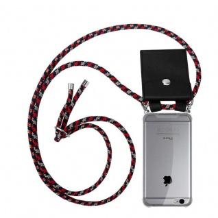 Cadorabo Handy Kette für Apple iPhone 6 PLUS / iPhone 6S PLUS in ROT BLAU GELB - Silikon Necklace Umhänge Hülle mit Silber Ringen, Kordel Band Schnur und abnehmbarem Etui - Schutzhülle