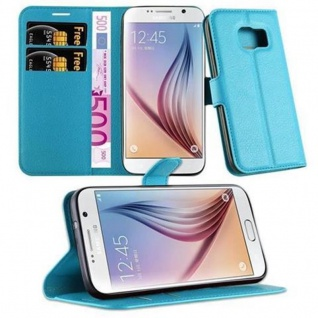 Cadorabo Hülle für Samsung Galaxy S7 in PASTEL BLAU Handyhülle mit Magnetverschluss, Standfunktion und Kartenfach Case Cover Schutzhülle Etui Tasche Book Klapp Style