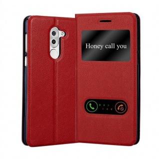 Cadorabo Hülle für Honor 6X in SAFRAN ROT - Handyhülle mit Magnetverschluss, Standfunktion und 2 Sichtfenstern - Case Cover Schutzhülle Etui Tasche Book Klapp Style