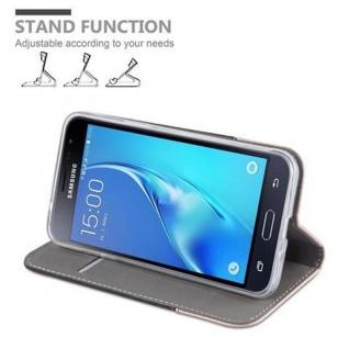 Cadorabo Hülle für Samsung Galaxy J3 2016 in ANTRAZIT GOLD - Handyhülle mit Magnetverschluss, Standfunktion und Kartenfach - Case Cover Schutzhülle Etui Tasche Book Klapp Style - Vorschau 4