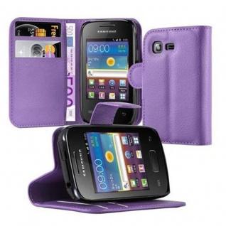 Cadorabo Hülle für Samsung Galaxy POCKET 2 in MANGAN VIOLETT - Handyhülle mit Magnetverschluss, Standfunktion und Kartenfach - Case Cover Schutzhülle Etui Tasche Book Klapp Style