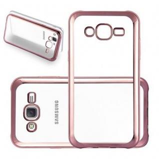 Cadorabo Hülle für Samsung Galaxy J5 2015 (5) - Hülle in TRANSPARENT mit CHROM ROSEGOLD - Handyhülle aus TPU Silikon im Chrom Design - Silikonhülle Schutzhülle Ultra Slim Soft Back Cover Case Bumper