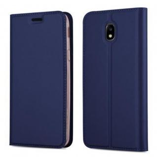Cadorabo Hülle für Samsung Galaxy J3 2017 in CLASSY DUNKEL BLAU - Handyhülle mit Magnetverschluss, Standfunktion und Kartenfach - Case Cover Schutzhülle Etui Tasche Book Klapp Style