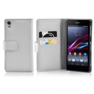 Cadorabo Hülle für Sony Xperia Z1 in MAGNESIUM WEIß - Handyhülle aus strukturiertem Kunstleder mit Standfunktion und Kartenfach - Case Cover Schutzhülle Etui Tasche Book Klapp Style