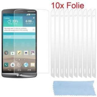 Cadorabo Displayschutzfolien für LG G3 - Schutzfolien in HIGH CLEAR ? 10 Stück hochtransparenter Schutzfolien gegen Staub, Schmutz und Kratzer