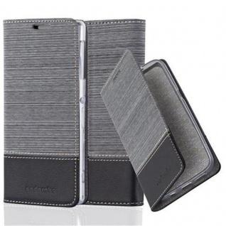 Cadorabo Hülle für Sony Xperia Z1 in GRAU SCHWARZ - Handyhülle mit Magnetverschluss, Standfunktion und Kartenfach - Case Cover Schutzhülle Etui Tasche Book Klapp Style