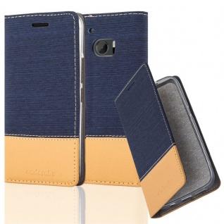 Cadorabo Hülle für HTC 10 (One M10) in DUNKEL BLAU BRAUN - Handyhülle mit Magnetverschluss, Standfunktion und Kartenfach - Case Cover Schutzhülle Etui Tasche Book Klapp Style
