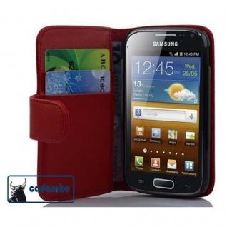 Cadorabo Hülle für Samsung Galaxy ACE 2 in CHILI ROT ? Handyhülle aus glattem Kunstleder mit Standfunktion und Kartenfach ? Case Cover Schutzhülle Etui Tasche Book Klapp Style