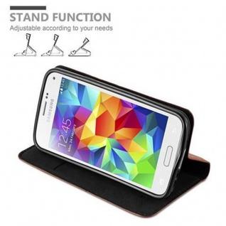 Cadorabo Hülle für Samsung Galaxy S5 MINI / S5 MINI DUOS in CAPPUCCINO BRAUN - Handyhülle mit Magnetverschluss, Standfunktion und Kartenfach - Case Cover Schutzhülle Etui Tasche Book Klapp Style - Vorschau 4