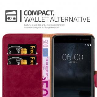 Cadorabo Hülle für Nokia 6 2017 in WEIN ROT ? Handyhülle mit Magnetverschluss, Standfunktion und Kartenfach ? Case Cover Schutzhülle Etui Tasche Book Klapp Style - Vorschau 3