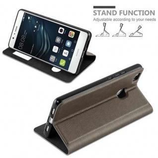 Cadorabo Hülle für Huawei P9 LITE in STEIN BRAUN ? Handyhülle mit Magnetverschluss, Standfunktion und 2 Sichtfenstern ? Case Cover Schutzhülle Etui Tasche Book Klapp Style - Vorschau 3
