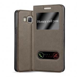 Cadorabo Hülle für Samsung Galaxy A3 2015 in STEIN BRAUN - Handyhülle mit Magnetverschluss, Standfunktion und 2 Sichtfenstern - Case Cover Schutzhülle Etui Tasche Book Klapp Style
