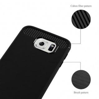 Cadorabo Hülle für Samsung Galaxy S6 - Hülle in BRUSHED SCHWARZ ? Handyhülle aus TPU Silikon in Edelstahl-Karbonfaser Optik - Silikonhülle Schutzhülle Ultra Slim Soft Back Cover Case Bumper - Vorschau 4