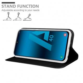 Cadorabo Hülle für Samsung Galaxy A40 in CLASSY SCHWARZ - Handyhülle mit Magnetverschluss, Standfunktion und Kartenfach - Case Cover Schutzhülle Etui Tasche Book Klapp Style - Vorschau 3