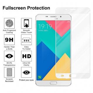 Cadorabo Vollbild Panzer Folie für Samsung Galaxy A9 2016 - Schutzfolie in TRANSPARENT mit WEISS - Gehärtetes (Tempered) Display-Schutzglas in 9H Härte mit 3D Touch Kompatibilität - Vorschau 4