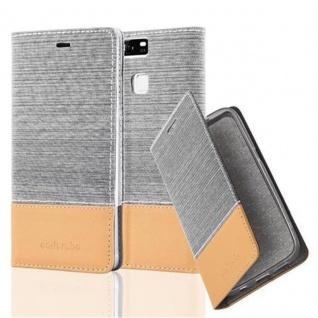 Cadorabo Hülle für Huawei P9 in HELL GRAU BRAUN - Handyhülle mit Magnetverschluss, Standfunktion und Kartenfach - Case Cover Schutzhülle Etui Tasche Book Klapp Style
