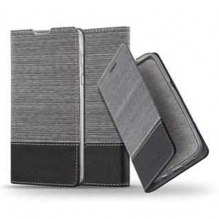 Cadorabo Hülle für Sony Xperia E5 in GRAU SCHWARZ - Handyhülle mit Magnetverschluss, Standfunktion und Kartenfach - Case Cover Schutzhülle Etui Tasche Book Klapp Style