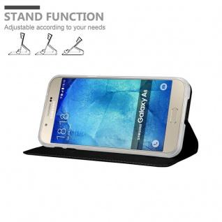 Cadorabo Hülle für Samsung Galaxy A8 2015 in CLASSY SCHWARZ - Handyhülle mit Magnetverschluss, Standfunktion und Kartenfach - Case Cover Schutzhülle Etui Tasche Book Klapp Style - Vorschau 4