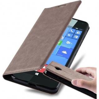 Cadorabo Hülle für Nokia Lumia 650 in KAFFEE BRAUN - Handyhülle mit Magnetverschluss, Standfunktion und Kartenfach - Case Cover Schutzhülle Etui Tasche Book Klapp Style