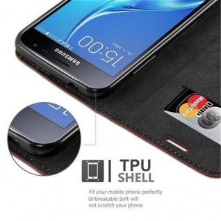 Cadorabo Hülle für Samsung Galaxy J3 2016 in CAPPUCCINO BRAUN - Handyhülle mit Magnetverschluss, Standfunktion und Kartenfach - Case Cover Schutzhülle Etui Tasche Book Klapp Style - Vorschau 3