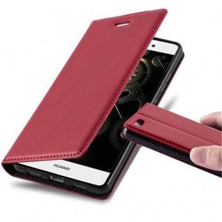 Cadorabo Hülle für Huawei P8 LITE 2015 in APFEL ROT - Handyhülle mit Magnetverschluss, Standfunktion und Kartenfach - Case Cover Schutzhülle Etui Tasche Book Klapp Style