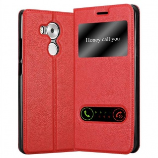 Cadorabo Hülle für Huawei MATE 8 in SAFRAN ROT - Handyhülle mit Magnetverschluss, Standfunktion und 2 Sichtfenstern - Case Cover Schutzhülle Etui Tasche Book Klapp Style