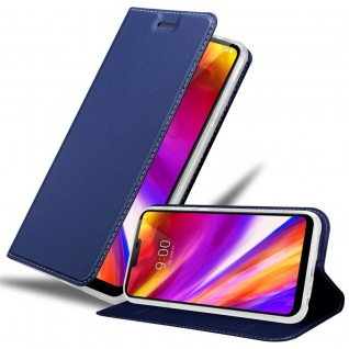 Cadorabo Hülle für LG G7 ThinQ in CLASSY DUNKEL BLAU - Handyhülle mit Magnetverschluss, Standfunktion und Kartenfach - Case Cover Schutzhülle Etui Tasche Book Klapp Style