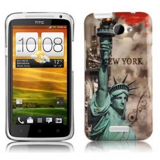 Cadorabo - Hard Cover für HTC ONE X / ONE X+ - Case Cover Schutzhülle Bumper im Design: NEW YORK - FREIHEITSSTATUE