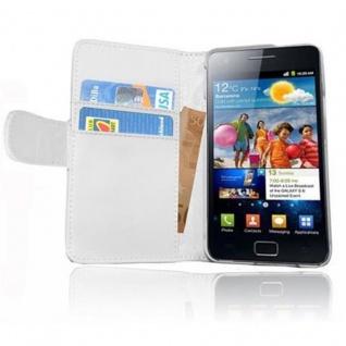 Cadorabo Hülle für Samsung Galaxy S2 / S2 PLUS in POLAR WEIß ? Handyhülle aus glattem Kunstleder mit Standfunktion und Kartenfach ? Case Cover Schutzhülle Etui Tasche Book Klapp Style