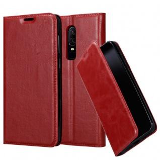 Cadorabo Hülle für One Plus 6 in APFEL ROT Handyhülle mit Magnetverschluss, Standfunktion und Kartenfach Case Cover Schutzhülle Etui Tasche Book Klapp Style