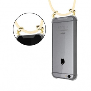 Cadorabo Handy Kette für Apple iPhone 6 PLUS / iPhone 6S PLUS in CREME BEIGE - Silikon Necklace Umhänge Hülle mit Gold Ringen, Kordel Band Schnur und abnehmbarem Etui ? Schutzhülle - Vorschau 4