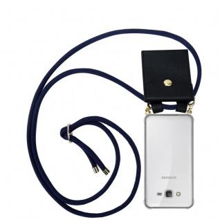 Cadorabo Handy Kette für Samsung Galaxy GRAND PRIME in TIEF BLAU - Silikon Necklace Umhänge Hülle mit Gold Ringen, Kordel Band Schnur und abnehmbarem Etui ? Schutzhülle