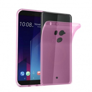 Cadorabo Hülle für HTC U11 PLUS in TRANSPARENT PINK - Handyhülle aus flexiblem TPU Silikon - Silikonhülle Schutzhülle Ultra Slim Soft Back Cover Case Bumper