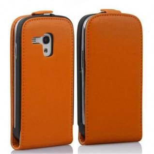Cadorabo Hülle für Samsung Galaxy S3 MINI in ORANGE - Handyhülle im Flip Design aus glattem Kunstleder - Case Cover Schutzhülle Etui Tasche Book Klapp Style - Vorschau 2