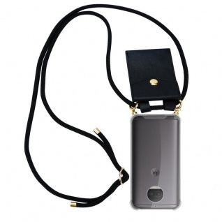 Cadorabo Handy Kette für Motorola MOTO G5S PLUS in SCHWARZ Silikon Necklace Umhänge Hülle mit Gold Ringen, Kordel Band Schnur und abnehmbarem Etui Schutzhülle