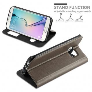 Cadorabo Hülle für Samsung Galaxy S6 EDGE PLUS in STEIN BRAUN - Handyhülle mit Magnetverschluss, Standfunktion und 2 Sichtfenstern - Case Cover Schutzhülle Etui Tasche Book Klapp Style - Vorschau 4